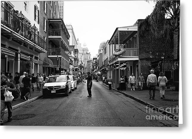 New Orleans Louisiana Framed Prints Greeting Cards - Freeze Frame on Bourbon Street mono Greeting Card by John Rizzuto