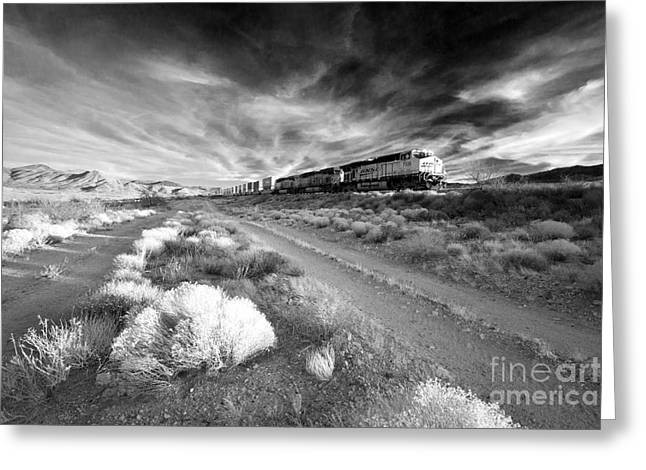 Freight Train Greeting Cards - Freight Arizona  Greeting Card by Rob Hawkins