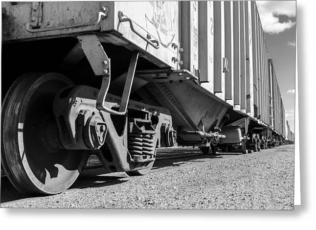 Railyard Greeting Cards - Big Train Rolling Greeting Card by Jim Hughes