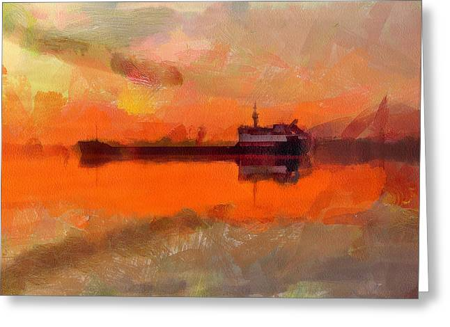 Stadium Design Digital Greeting Cards - Freight Ship Sunset Greeting Card by Yury Malkov