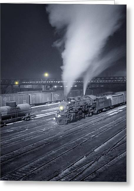 Cargo Greeting Cards - Freight train about to leave the Atchison Circa 1943 Greeting Card by Aged Pixel