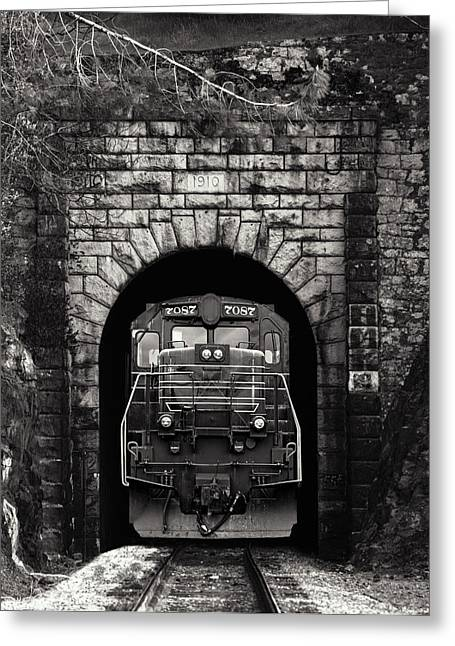 Freight Train Greeting Cards - Freight Train Coming Through Greeting Card by Daniel Hagerman