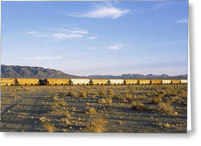 Train Photography Greeting Cards - Freight Train In A Desert, Trona, San Greeting Card by Panoramic Images