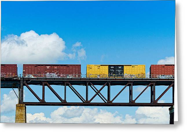 Train On Bridge Greeting Cards - Freight Train Passing Over A Bridge Greeting Card by Panoramic Images