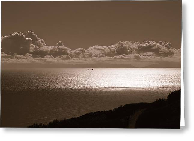 Pacfic Ocean Greeting Cards - Freighter and the Catalina Channel Greeting Card by Joe Schofield