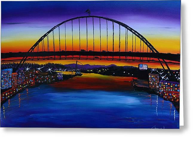 Fremont Bridge At Dusk 5 Greeting Card by Portland Art Creations