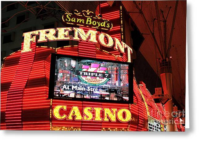 Freemont Street Experience Greeting Cards - Fremont Casino Greeting Card by John Rizzuto
