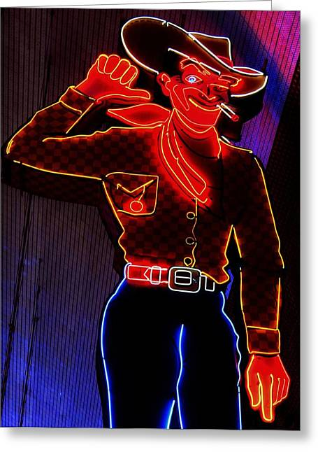 Fremont Street Greeting Cards - Fremont Cowboy Greeting Card by Benjamin Yeager