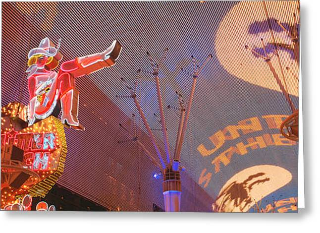 Brightly Lit Greeting Cards - Fremont Experience Las Vegas Nv Usa Greeting Card by Panoramic Images