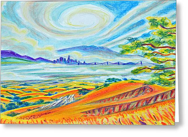 San Francisco Bay Pastels Greeting Cards - Fremont Hills Panoramic Greeting Card by Steven Bales