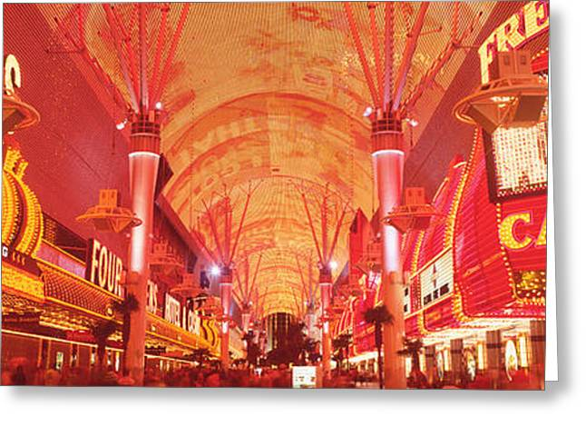 Enclosed Greeting Cards - Fremont St Experience, Las Vegas, Nv Greeting Card by Panoramic Images