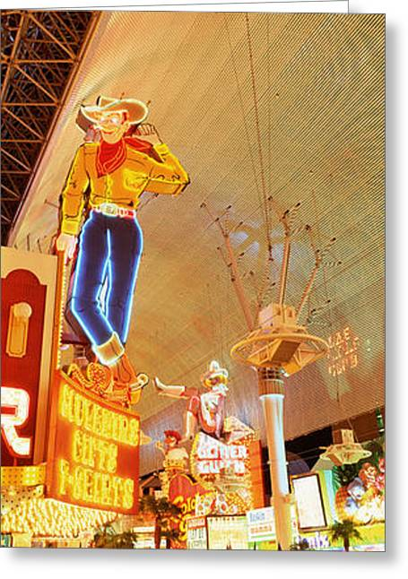 Fremont Street Greeting Cards - Fremont Street Downtown Las Vegas Greeting Card by Panoramic Images