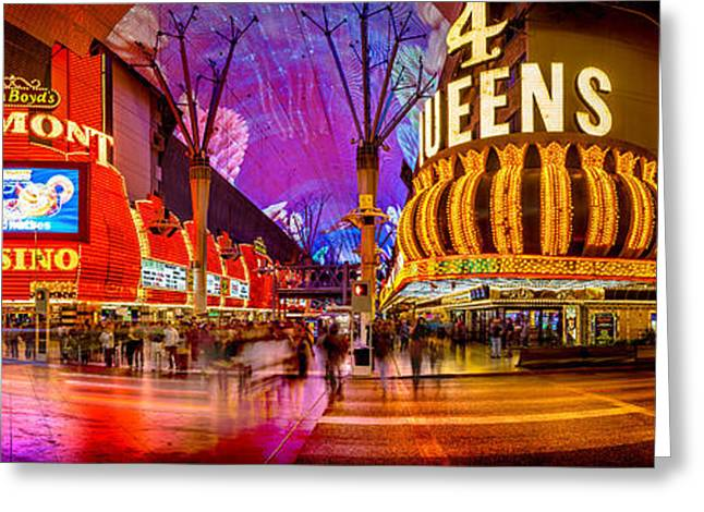 Dancing Greeting Cards - Fremont Street Experience Greeting Card by Az Jackson