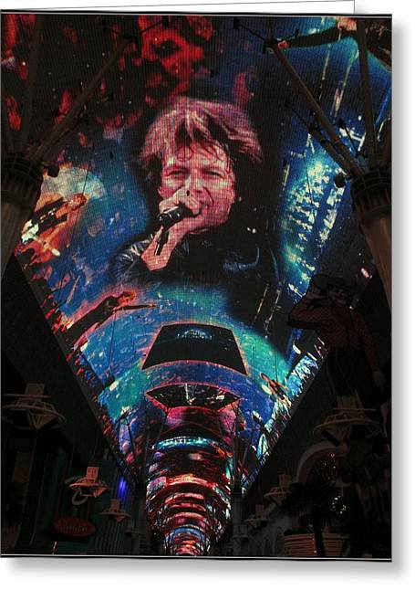 Kay Novy Greeting Cards - Fremont Street Experience Greeting Card by Kay Novy
