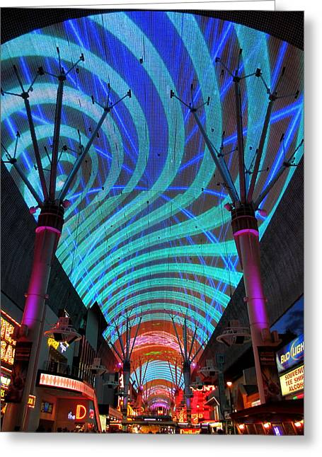 Fremont Street Greeting Cards - Fremont Street Experience Two Greeting Card by Randall Weidner