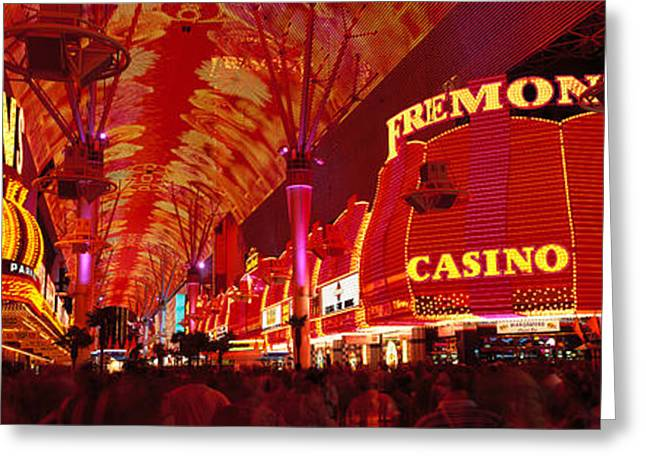 Fremont Street Greeting Cards - Fremont Street, Las Vegas, Nevada, Usa Greeting Card by Panoramic Images
