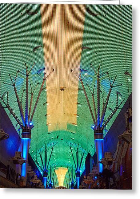 Illuminate Greeting Cards - Fremont Street Las Vegas Nv Greeting Card by Panoramic Images