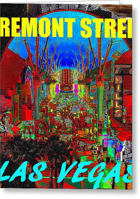 Fremont Street Greeting Cards - Fremont Street poster work C Greeting Card by David Lee Thompson