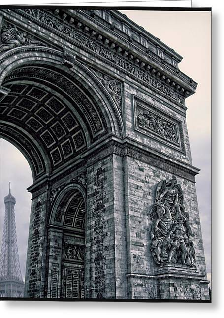 French - Arc De Triomphe And Eiffel Tower II Greeting Card by Lee Dos Santos