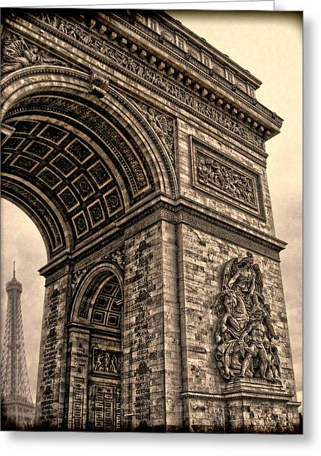 Champs Greeting Cards - French - Arc de Triomphe and Eiffel Tower III Greeting Card by Lee Dos Santos