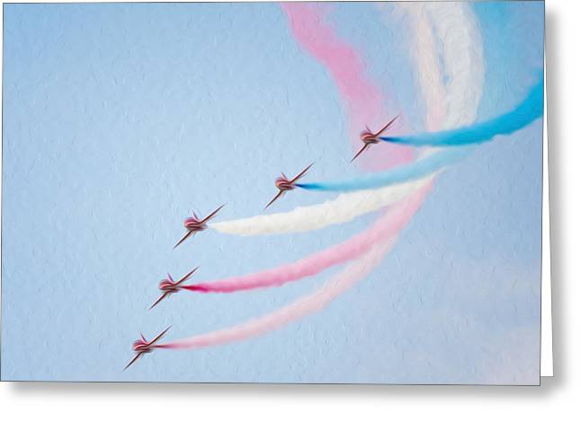 Airforce Paintings Greeting Cards - French air force aerobatic team Greeting Card by Lanjee Chee