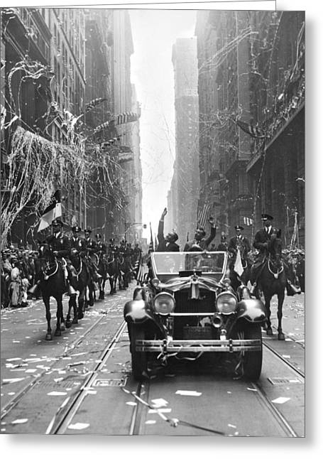 Ticker Tape Parade Greeting Cards - French Aviators NY Parade Greeting Card by Underwood Archives