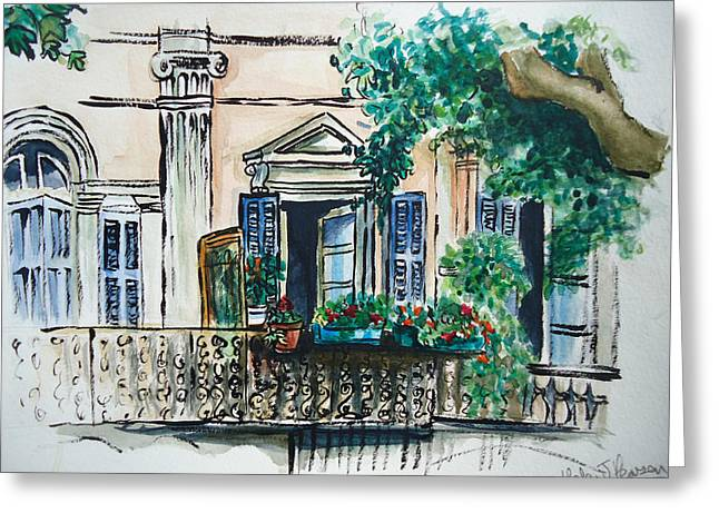 South Of France Mixed Media Greeting Cards - French Balcony Greeting Card by Helen J Pearson