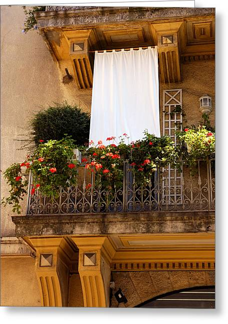 Norman Pogson Greeting Cards - French Balcony In Grasse Greeting Card by Norman Pogson