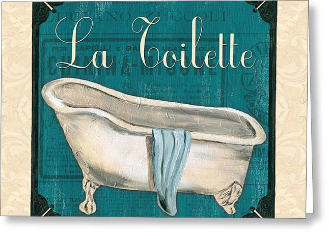 Light Aqua Greeting Cards - French Bath Greeting Card by Debbie DeWitt