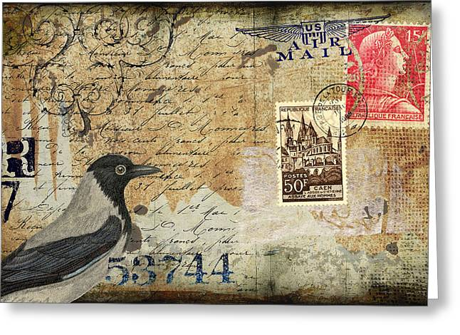 Old Postcards Greeting Cards - French Bird Postcard Greeting Card by Carol Leigh