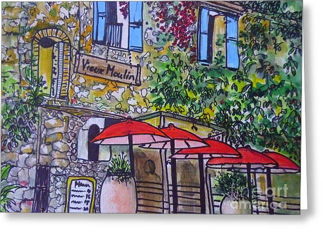 Provence Village Greeting Cards - French Bistro Greeting Card by Angela  Gannicott