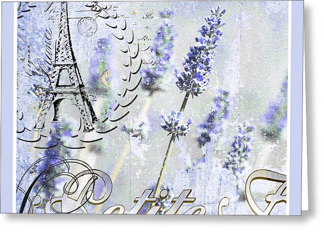Eiffel Tower Mixed Media Greeting Cards - French Blue Lavender Greeting Card by Anahi DeCanio