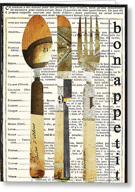 Advertising Mixed Media Greeting Cards - French Bon Appetit Utensils Greeting Card by adSpice Studios