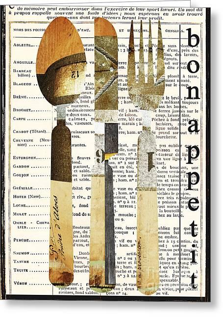Wall Decor Licensing Greeting Cards - French Bon Appetit Utensils Kitchen Art Greeting Card by ArtyZen Studios - ArtyZen Home