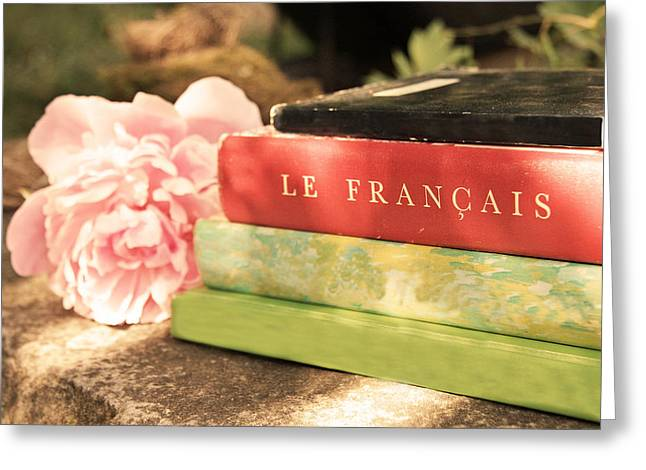 Stacks Of Books Greeting Cards - French Books and Peony Greeting Card by Brooke Ryan