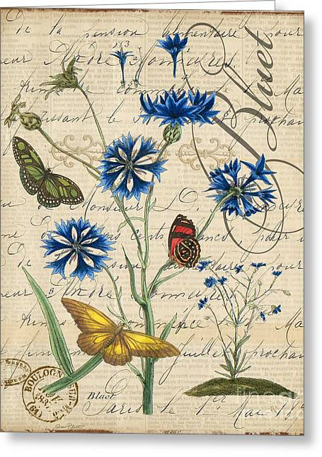18th Century Mixed Media Greeting Cards - French Botanical-Bluet Greeting Card by Jean Plout