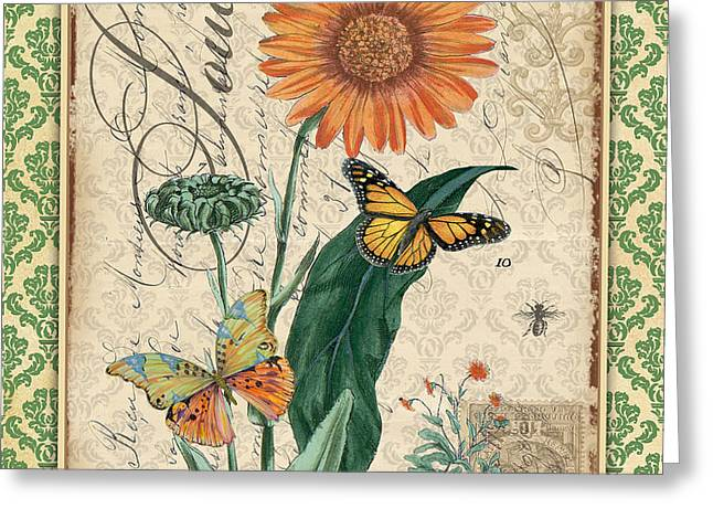 18th Century Mixed Media Greeting Cards - French Botanical Damask-A Greeting Card by Jean Plout