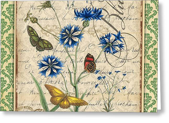 18th Century Mixed Media Greeting Cards - French Botanical Damask-B Greeting Card by Jean Plout
