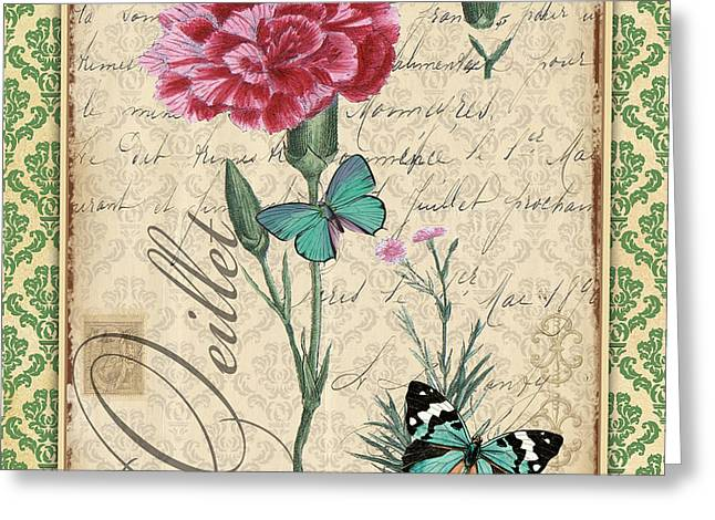 18th Century Mixed Media Greeting Cards - French Botanical Damask-C Greeting Card by Jean Plout
