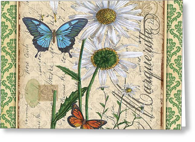 18th Century Mixed Media Greeting Cards - French Botanical Damask-D Greeting Card by Jean Plout