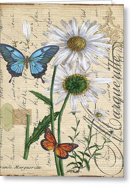 18th Century Mixed Media Greeting Cards - French Botanical-Marqueritte Greeting Card by Jean Plout