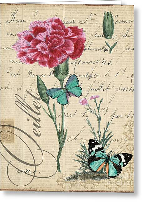 18th Century Mixed Media Greeting Cards - French Botanical-Oeillet Greeting Card by Jean Plout