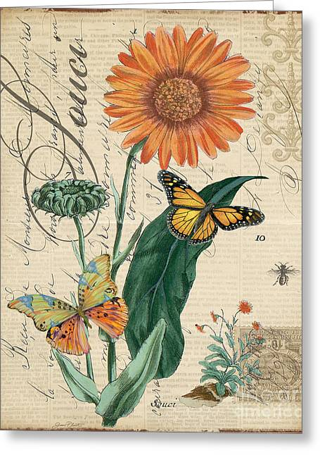 18th Century Mixed Media Greeting Cards - French Botanical-Souci Greeting Card by Jean Plout