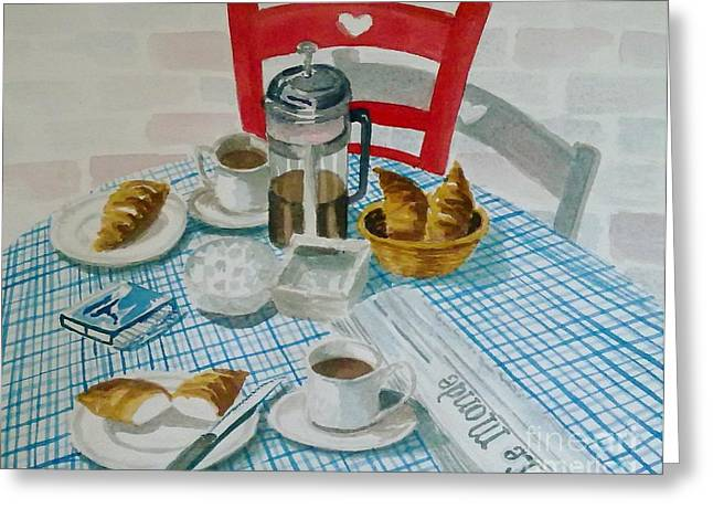 Checked Tablecloths Paintings Greeting Cards - French Breakfast Greeting Card by Julie Jules Grant-Field