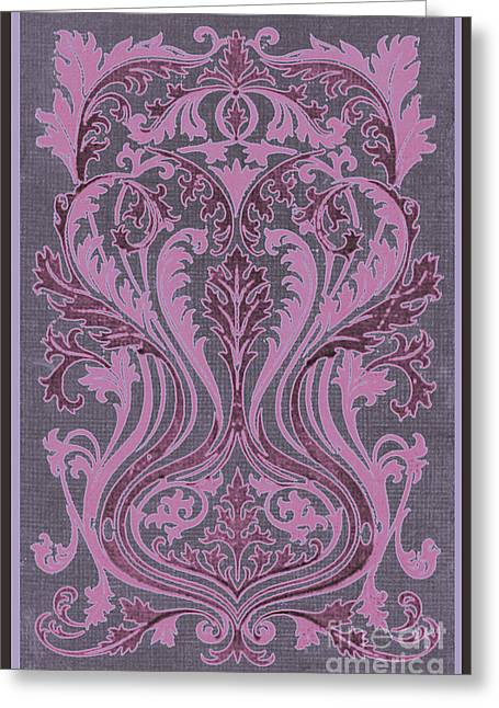 Burgundy Drawings Greeting Cards - French Brocade Fleur de Lis. Mauve and Burgundy.  Greeting Card by Pierpont Bay Archives