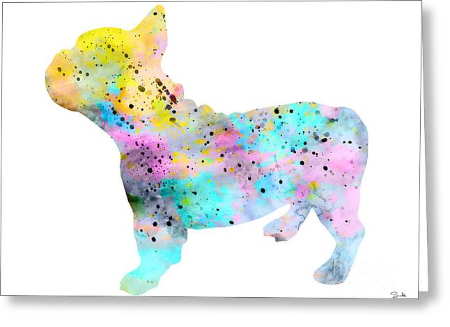 Bulldog Paintings Greeting Cards - French Bulldog 4 Greeting Card by Lyubomir Kanelov