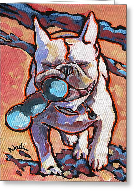 Nadi Spencer Paintings Greeting Cards - French Bulldog and Toy Greeting Card by Nadi Spencer