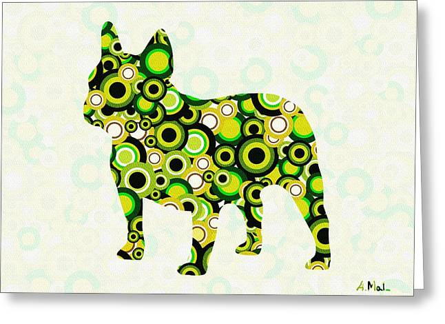 French Bulldog - Animal Art Greeting Card by Anastasiya Malakhova