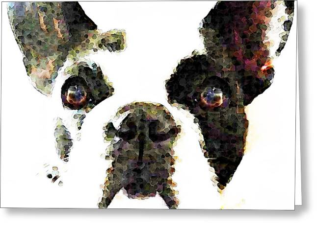 Animal Lovers Greeting Cards - French Bulldog Art - High Contrast Greeting Card by Sharon Cummings