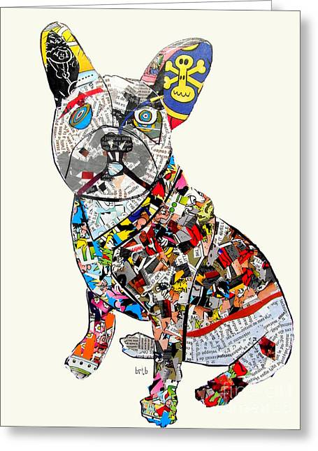 Animal Art Posters In Mixed Media Greeting Cards - French Bulldog  Greeting Card by Bri Buckley